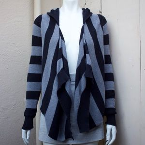 Express striped sweater open front cardigan hoodie